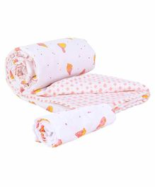 Mom's Home Organic Cotton Quilt With Muslin Swaddle Wrapper Ice Cream Print - Peach