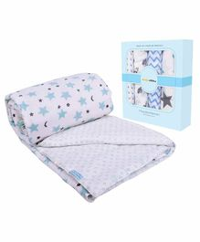 Mom's Home Organic Cotton Quilt With Muslin Swaddle Wrapper Animal Print Pack of 5 - Blue