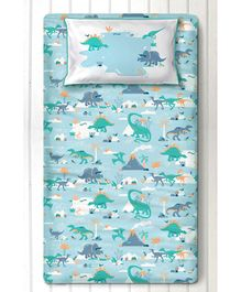 Silverlinen Snooze & Roar Dinosaur Single Bedsheet with One Pillow Cover - Multicolor