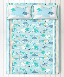 Silverlinen Snooze & Roar Dinosaur Double Bedsheet with Two Pillow Covers - Multicolor