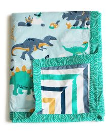 Silverlinen Snooze & Roar Dinosaur Cotton Reversible Single Dohar - Multicolor