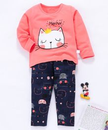 Kookie Kids Full Sleeves Night Suit Meow Print - Pink