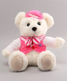 Benny & Bunny Teddy Bear In Air Hostess Costume White Pink - Height 19 cm