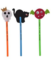 Li'll Pumpkins Halloween Set Of 3 Pencil Topper - Black White & Brown