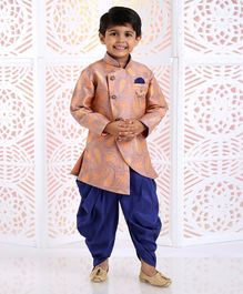 Dapper Dudes Paisley Print Full Sleeves Kurta With Dhoti - Peach