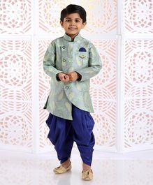 Dapper Dudes Paisley Print Full Sleeves Kurta With Dhoti - Green