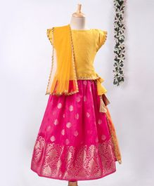 Meringue Cap Sleeves Checked Choli With Motif Print Lehenga & Dupatta Set - Yellow & Pink