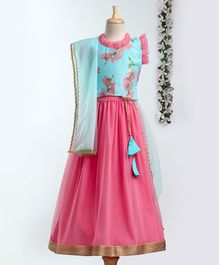 Meringue Sleeveless Floral Print Choli With Tulle Flare Lehenga & Dupatta Set - Blue & Pink