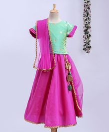 Meringue Short Sleeves Butta Work Choli With Contrast Lehenga & Dupatta Set - Green & Pink