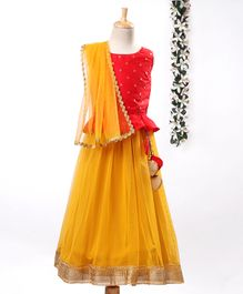Meringue Sleeveless Butta Work Choli With Lehenga & Dupatta Set - Red & Yellow