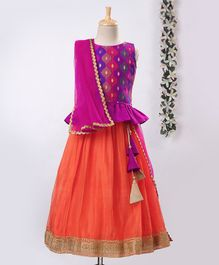 Meringue Sleeveless Motif Pattern Choli With Lehenga & Dupatta Set - Purple & Orange