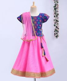 Meringue Short Sleeves Motif Pattern Choli With Contrast Lehenga & Dupatta Set - Blue & Pink
