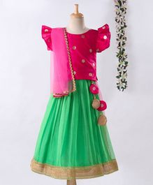 Meringue Cap Sleeves Butta Work Choli With Lehenga & Dupatta Set - Pink & Blue