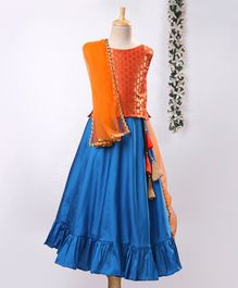 Meringue Brocade Sleeveless Choli & Lehenga Set With Dupatta - Orange & Blue