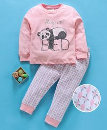 Lazy Bones Full Sleeves Night Suit Unicorn Print - Rose Pink