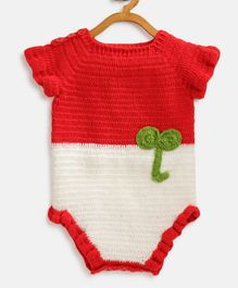 MayRa Knits Solid Half Sleeves Onesie - Red
