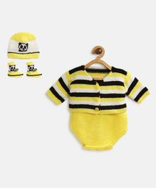 MayRa Knits Full Sleeves Cute Panda Theme Onesie With Jacket Cap And Booties - Yellow