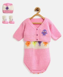 MayRa Knits Full Sleeves Jacket With Bird Theme Onesie Cap & Booties - Pink