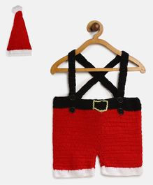 MayRa Knits Santa Claus Style Suspender Shorts With Cap - Red