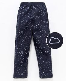 Fido Full Length Lounge Pant Cloud & Star Print - Black