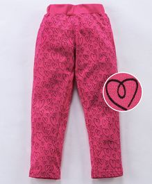 Fido Full Length Lounge Pant Heart Print - Pink
