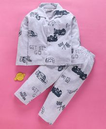 Fido Full Sleeves Night Suit Car Print - Grey