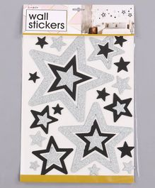 Glittered Wall Stickers Star Print Silver Black - 23 Pieces