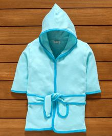 Ohms Hooded Cotton Bathrobe - Aqua Blue