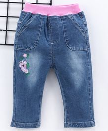 Kookie Kids Full Length Floral Embroidered Jeans - Blue Pink