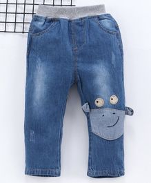 Kookie Kids Full Length Jeans Animal Face Patch - Blue