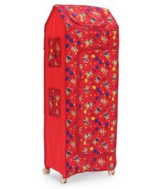 Play Time Big Jinni 5 Shelves Almirah Darling Bear Print - Red