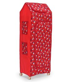 Play Time Big Jinni 5 Shelves Almirah Star & Flower Print - Red