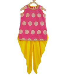 Campana Flower Print Sleeveless Kurta With Dhoti - Pink & Yellow