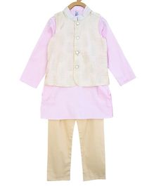 Campana Full Sleeves Golden Print Jacket With Kurta & Pajama - Light Pink