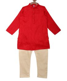 Campana Self Striped Full Sleeves Kurta & Pajama Set - Red & Gold