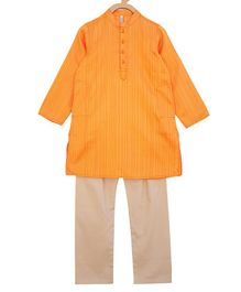 Campana Self Striped Full Sleeves Kurta & Pajama Set - Orange & Gold