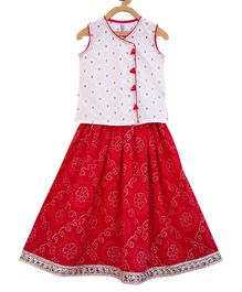 Campana Sleeveless Choli With Printed Lehenga - White & Red