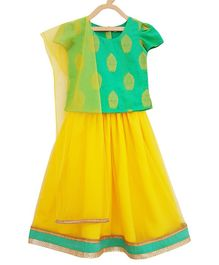 Campana Brocade Cap Sleeves Choli With Lehenga & Net Dupatta - Green & Yellow