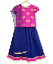 Campana Brocade Cap Sleeves Choli With Lehenga & Net Dupatta - Pink & Blue