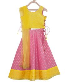Campana Motif All Over Print Sleeveless Choli With Lehenga & Net Dupatta - Pink & Yellow