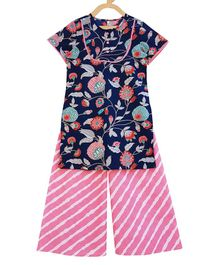 Campana Floral Print Short Sleeves Kurta & Leheriya Palazzo - Navy Blue & Light Pink