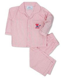 Knitting Doodles Full Sleeves Striped Night Suit - Pink