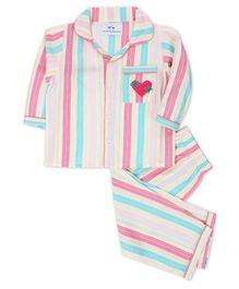 Knitting Doodles Full Sleeves Striped Heart Patch Night Suit - Multi Colour