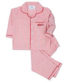 Knitting Doodles Full Sleeves Car Embroidered Striped Night Suit - Red