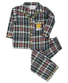 Knitting Doodles Full Sleeves Moustache Embroidered Checked Night Suit - Multi Colour