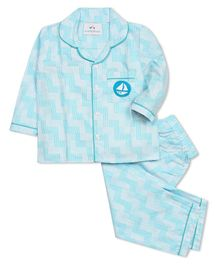 Knitting Doodles Full Sleeves Chevron Pattern Night Suit - Blue