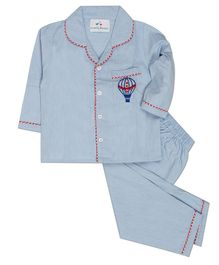 Knitting Doodles Full Sleeves Hot Air Balloon Embroidered Night Suit - Blue