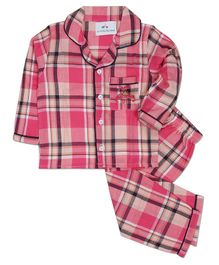 Knitting Doodles Full Sleeves Checked Night Suit - Pink