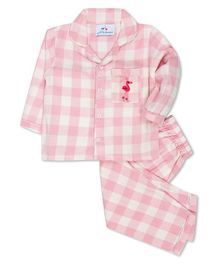 Knitting Doodles Full Sleeves Flamingo Embroidered Checked Night Suit - Pink