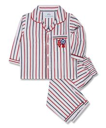 Knitting Doodles Full Sleeves Striped Night Suit - Red